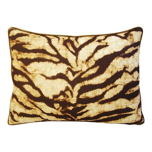 Schumacher Tiger Linen/Scalamandre Velvet Pillow - Image 2 of 4