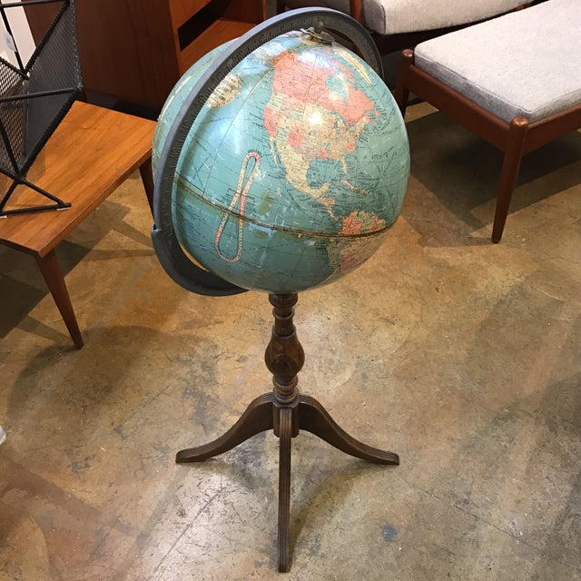 Vintage Globe on Wooden Pedestal - Image 2 of 5
