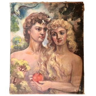 Early Adam & Eve Oil Painting