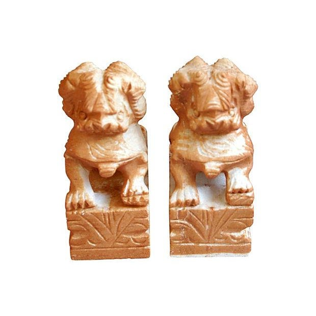 Carved Solid Marble Foo Dog Bookends - Pair - Image 5 of 7