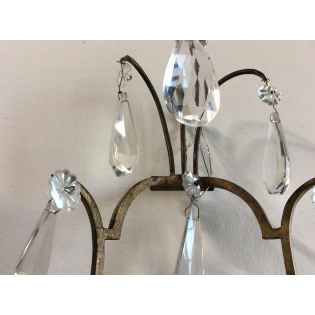 French Bronze & Crystal Wall Sconces - Set of 6 - Image 5 of 8