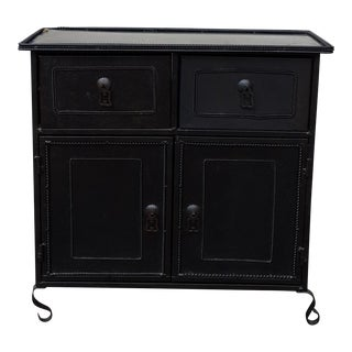 Black Metal Side Table / Storage Cabinet