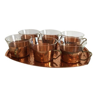 Mid-Century Copper Glass Set With Tray - Set of 7