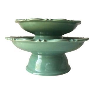 Celadon Pedestal Cake Stand Plates-Tozai - a Pair