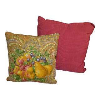 Red Silk Satin & Colorful Fruit Print Sofa Decorative Pillow