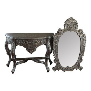 Blackened Silver Royal Dressing Table & Mirror - A Pair