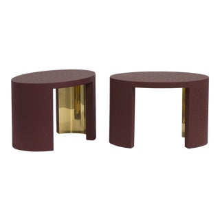 The Oval Crackle Side Tables by Talisman Bespoke (Burgundy and Gold)