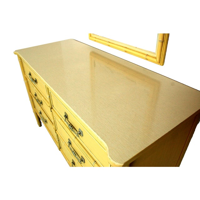 Soft Yellow Vintage Faux Bamboo Dresser W/ Mirror - Image 3 of 7