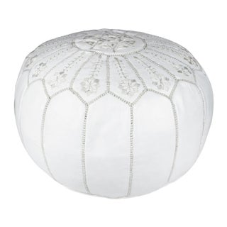 Embroidered White Leather Pouf