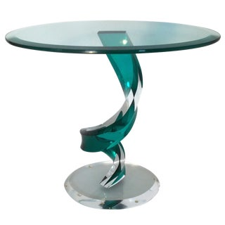 Lucite & Glass Oval End/Coffee Table Attr. Haziza