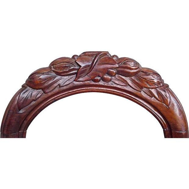 English Hand-Carved Leaf & Silk Chairs - Pair - Image 3 of 4