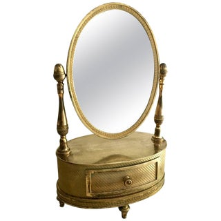 1800s Antique French First Empire Gilt Bronze Mirror