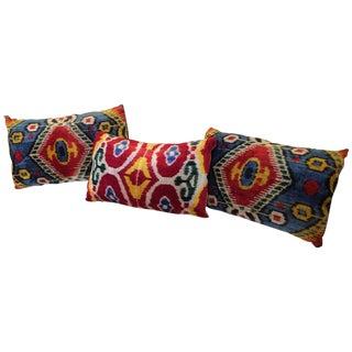 Uzbekistan Hand Dyed Silk Pillows - Set of 3