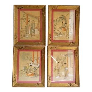 Antique John Wanamaker Japanese Silk Hand Painted Geisha - Set of 4