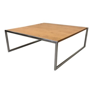 Mid-Century Square Chrome & Wood Coffee Table