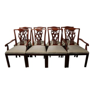 Drexel Chippendale Straight-Leg Mahogany Dining Chairs - Set of 8