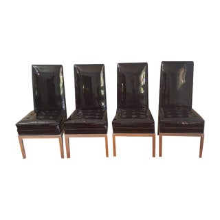 Mid-Century Modern Patent Leather Chairs - S/4