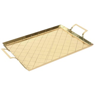 Tommi Parzinger Attributed Brass Diamond Criss-cross Tray or Barware