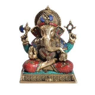 Brass & Mosaic Ganesh Figure