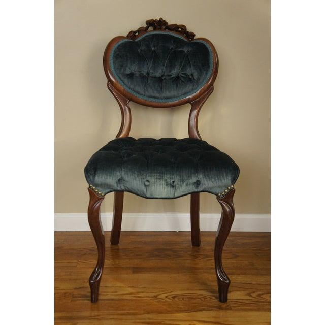 Blue-Green Tufted Velvet Side Chair - Image 3 of 11
