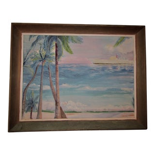 Vintage Palm Tree Seascape Oil Painting