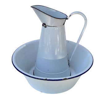 French Enamel Pitcher & Bowl Set