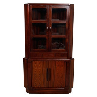 Danish Modern Rosewood Lighted Corner Cabinet