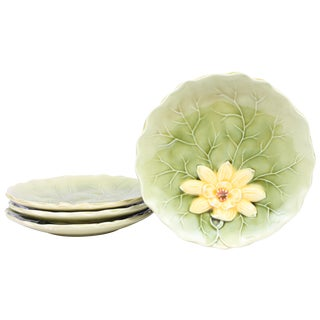 German Lily Pad Majolica Dessert Plates - Set of 4
