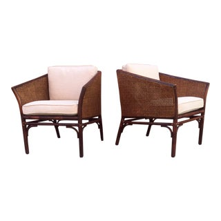 McGuire Furniture Cane & Bamboo Accent Chairs - a Pair
