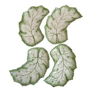 Vintage Lettuce Leaf Majolica Side Plates - 4