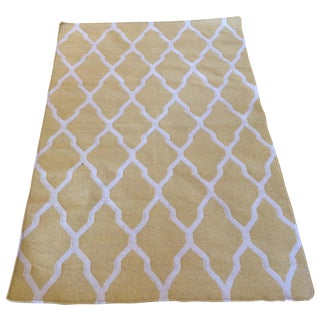 Yellow and Beige Trellis Kilim Rug - 3′10″ × 5′