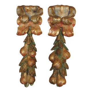 PAIR OF POLYCHROME FRUIT LADEN FRAGMENTS