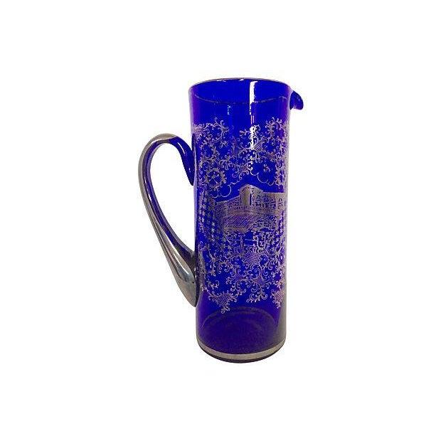 Vintage Venetian Silver on Blue Pitcher & Glasses - Image 2 of 6