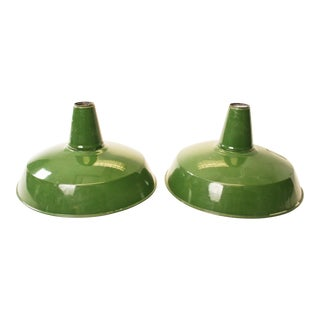 Vintage Industrial Green Enamel Light Shades - A Pair