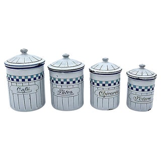 French Enamel Kitchen Canisters - Set of 4