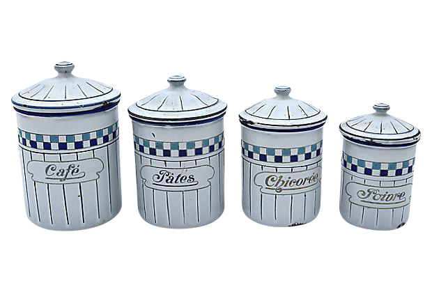 french enamel kitchen canisters set of 4 chairish set of vintage kitchen canisters vintage trio set of