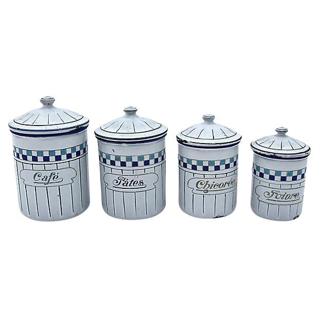 enamel kitchen canisters french enamel kitchen canisters set of 4 chairish 1477