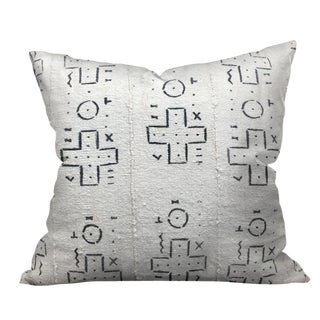 African White Mario Mudcloth Pillow