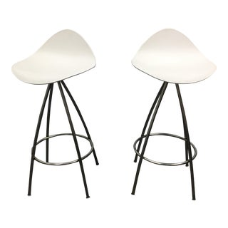 Design Within Reach Stua White + Metal Counter Height Stools - A Pair