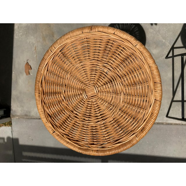 Mid-Century Wicker & Iron Stools - A Pair - Image 4 of 6