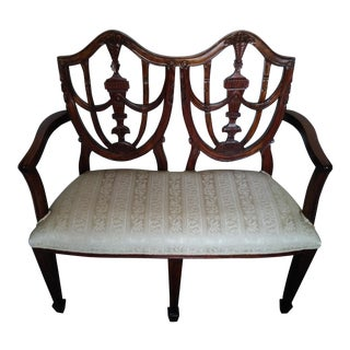Vintage Wood & Fabric Child's Settee