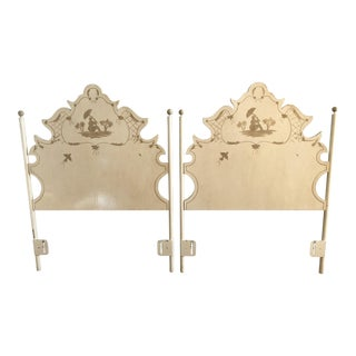 Jane Keltner for Brighton Pavilion Hand-Painted Pagoda Tole Twin Headboards - A Pair