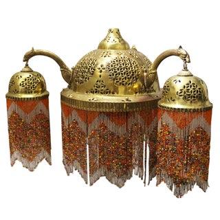 Vintage Moroccan Brass & Beaded Pendant Lamp