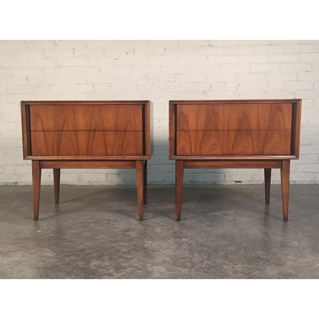 Image of Thomasville Mid-Century Danish Modern Nightstands - a Pair