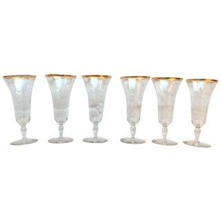 Vintage Gold Rimmed Glasses - Set of 6