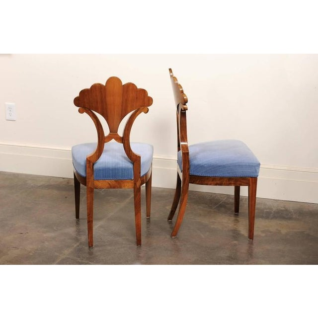 Pair of Austrian Biedermeier Fan Back Chairs with Light Blue Upholstery, 1840 - Image 8 of 10