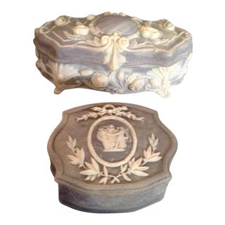 Incolay Stone Trinket Boxes - A Pair