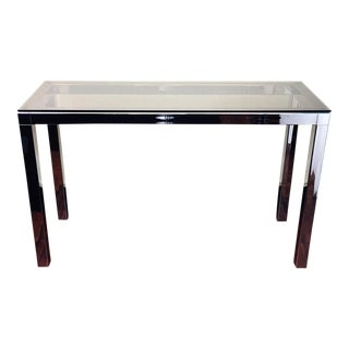 Mid Century Smoke Glass & Chrome Console Sofa Table