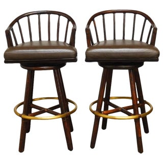 McGuire Bamboo Rattan & Leather Swivel Barstools - A Pair