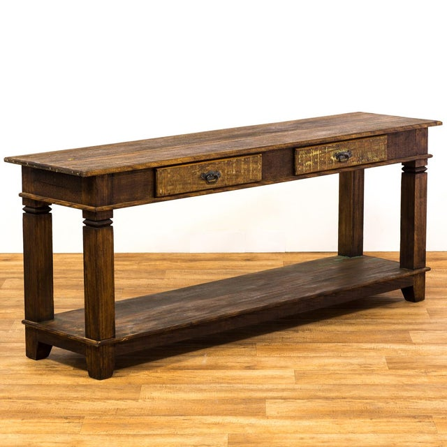 Drawer console eco friendly reclaimed solid wood table